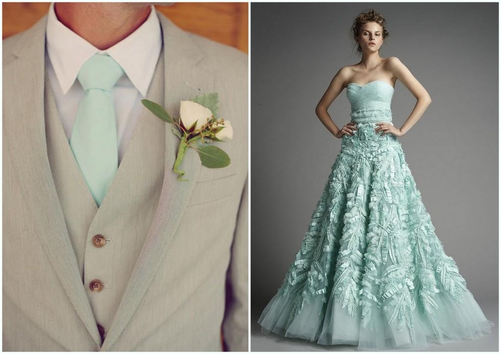 miętowy kolor na weselu