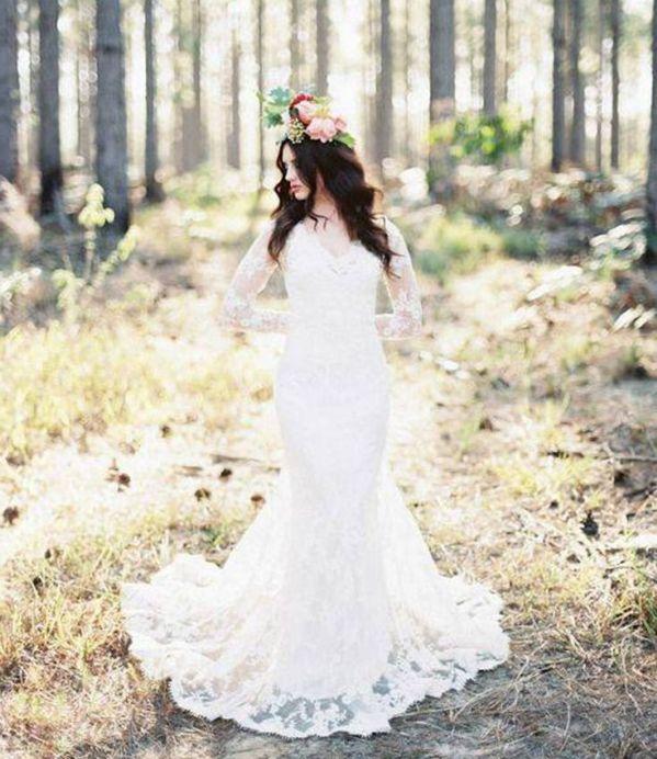 Suknia ślubna z długim rękawem idealna na zimowe wesele